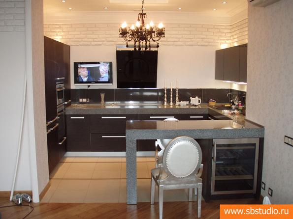 Кухня гостиная с барной стойкой небольшая фото